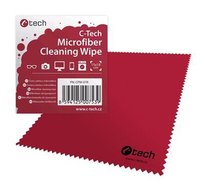 C-Tech Čistící utěrka z mikrovlákna 15x18cm červená