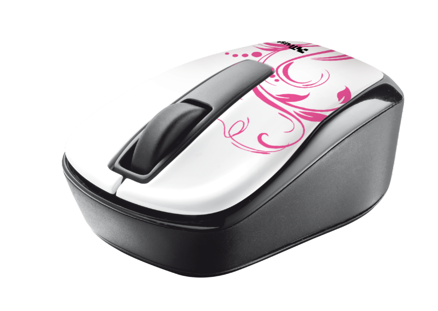 myš TRUST Qvy Wireless Micro Mouse - white & pink swirls