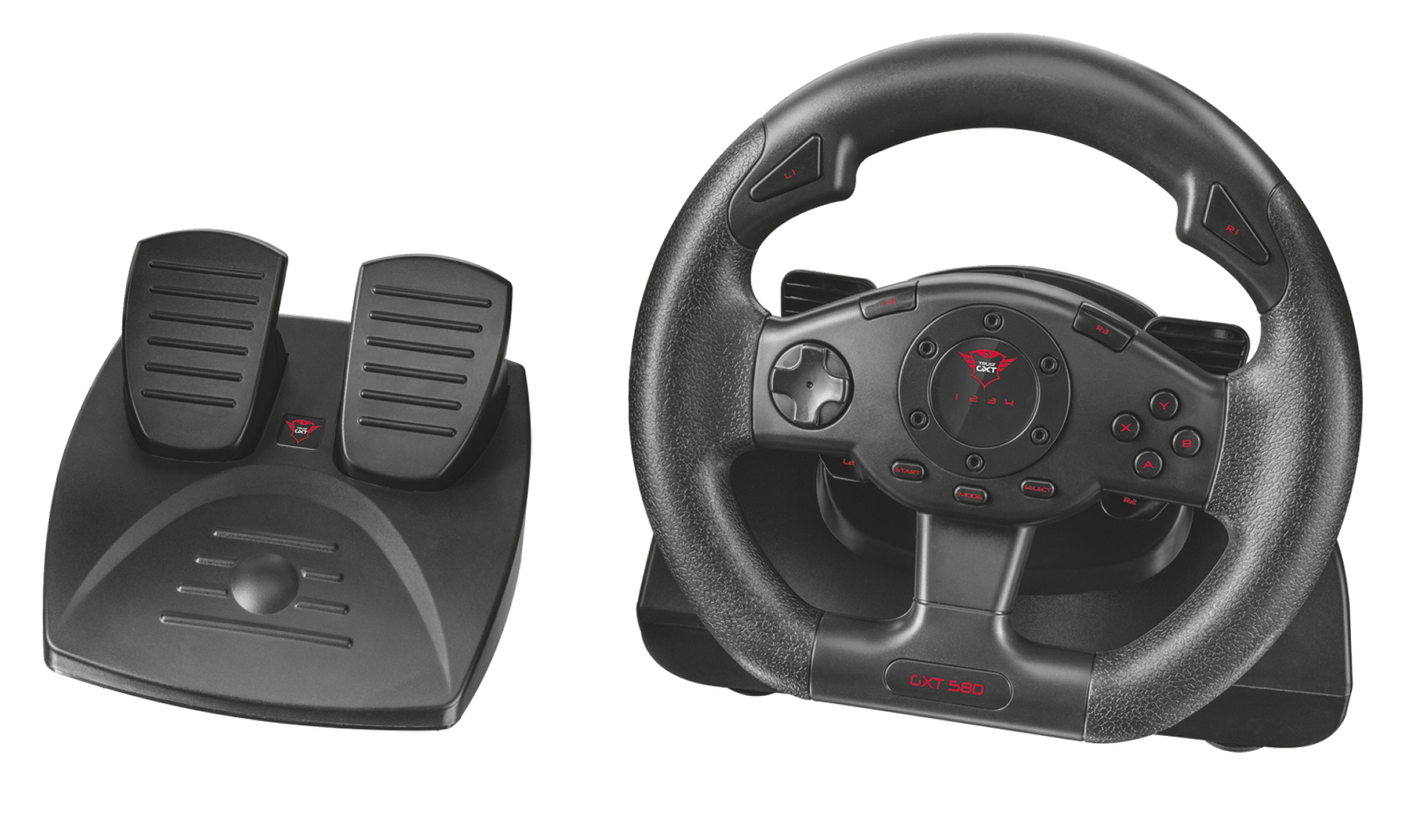 volant trust gxt 580 vibration feedback racing wheel. Black Bedroom Furniture Sets. Home Design Ideas
