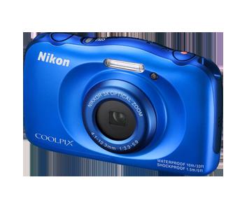Nikon Coolpix S33 modrý, 13,2MPx, 3xOZ, 1080/30p BACKPACK KIT