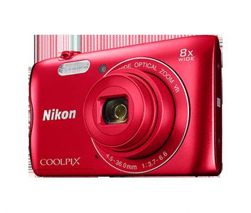 Nikon Coolpix A300 červený,20,1M, 8xOZ, HD Video
