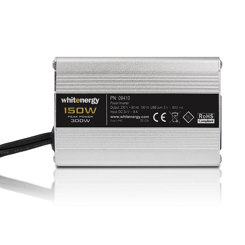 WHITENERGY - WE Měnič napětí DC/AC 24V / 230V, 150W, USB, mini