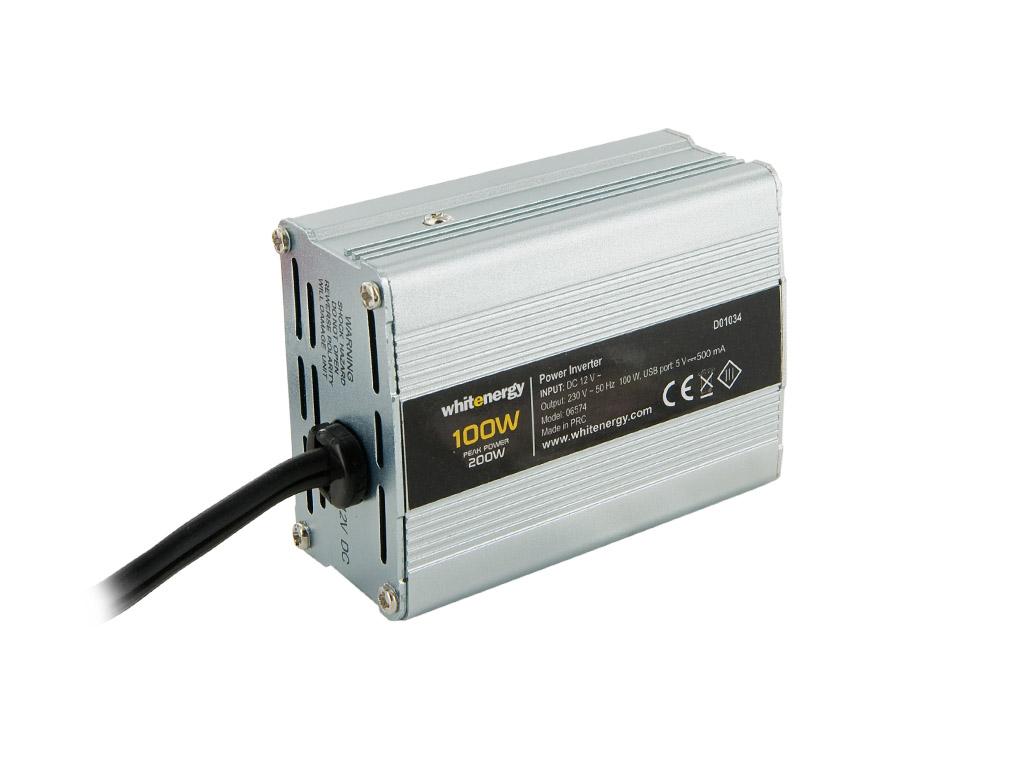 WE Měnič napětí DC/AC 12V / 230V, 100W, USB, mini