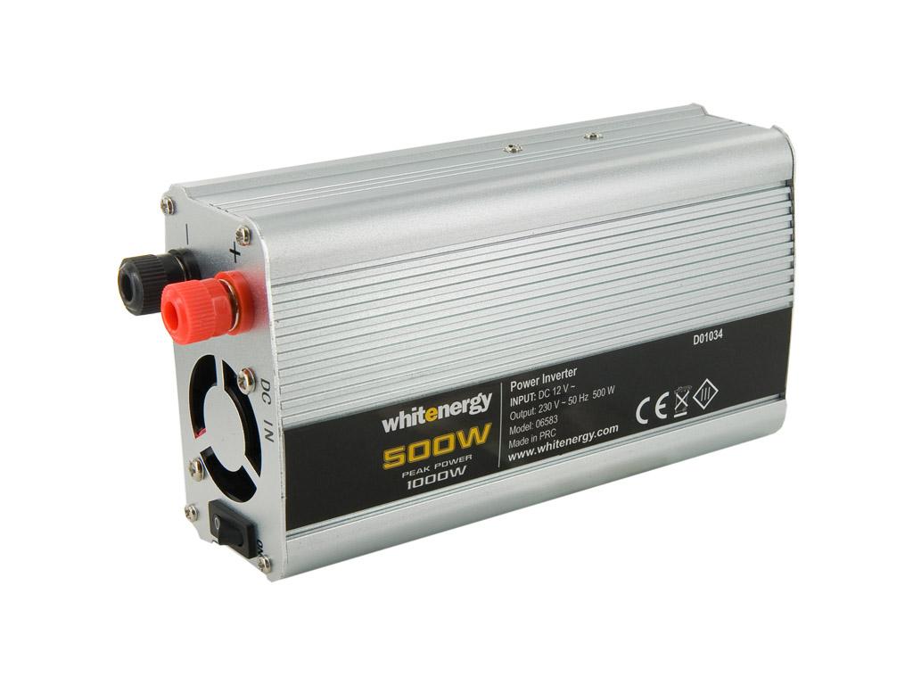 WE Měnič napětí DC/AC 12V / 230V, 500W, 2 zásuvky - 6583