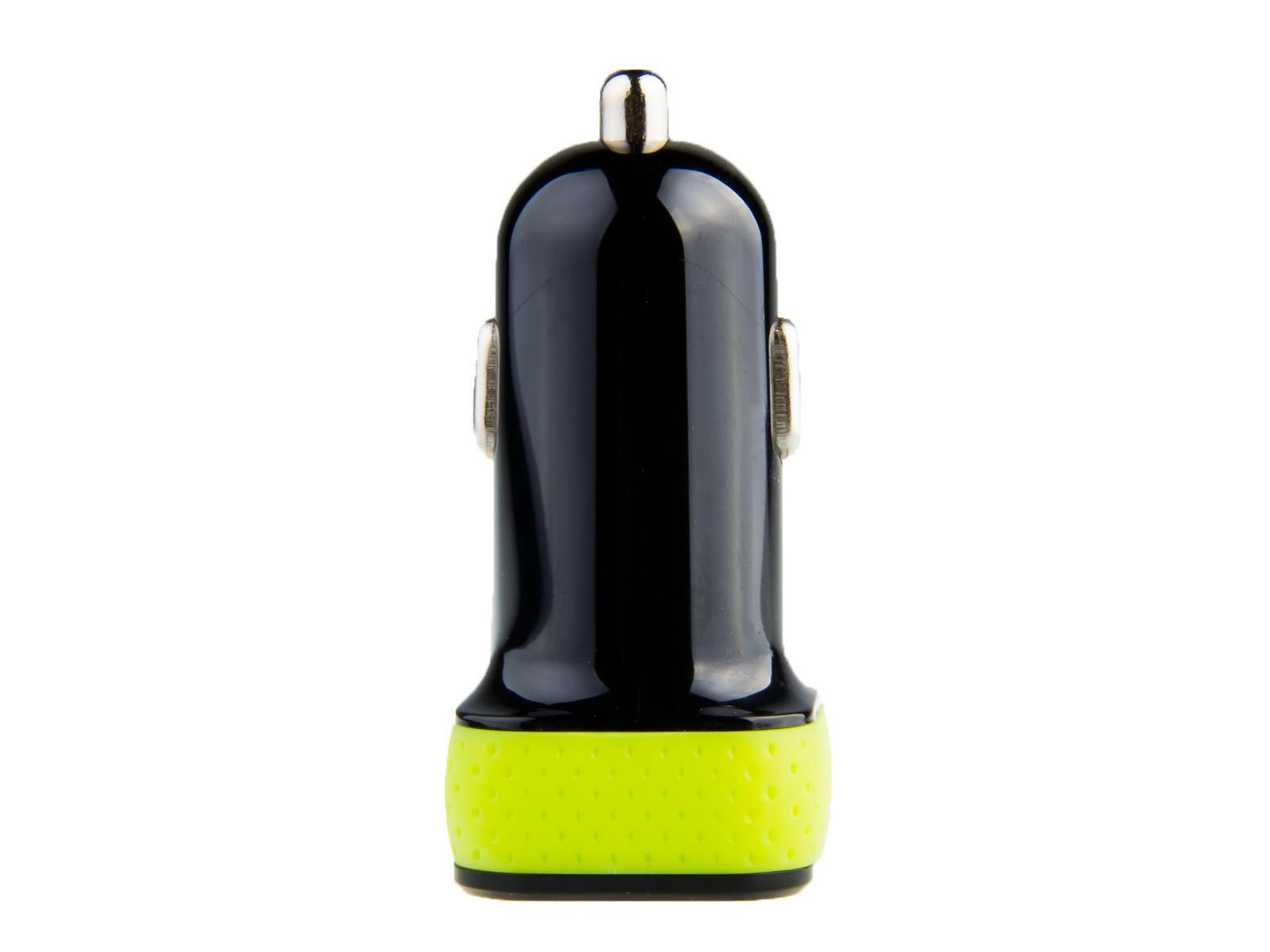 Nabíječka do auta AVACOM NACL-2XKG-21A s dvěma USB výstupy 5V/1A - 2,1A, černo-zelená barva
