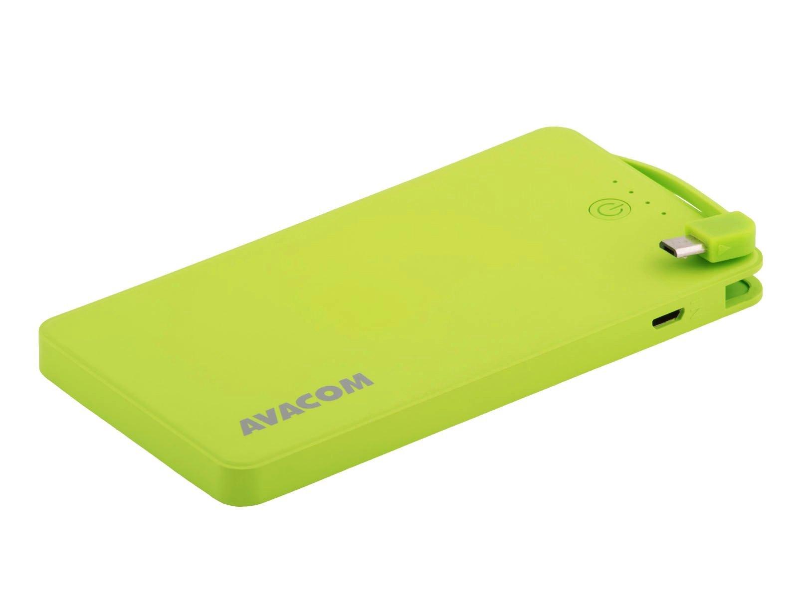 Power Bank AVACOM PWRB-4000G s Li-pol články, kapacita 4000mAh, výstup 5V/2.1A+1A, světle zelená
