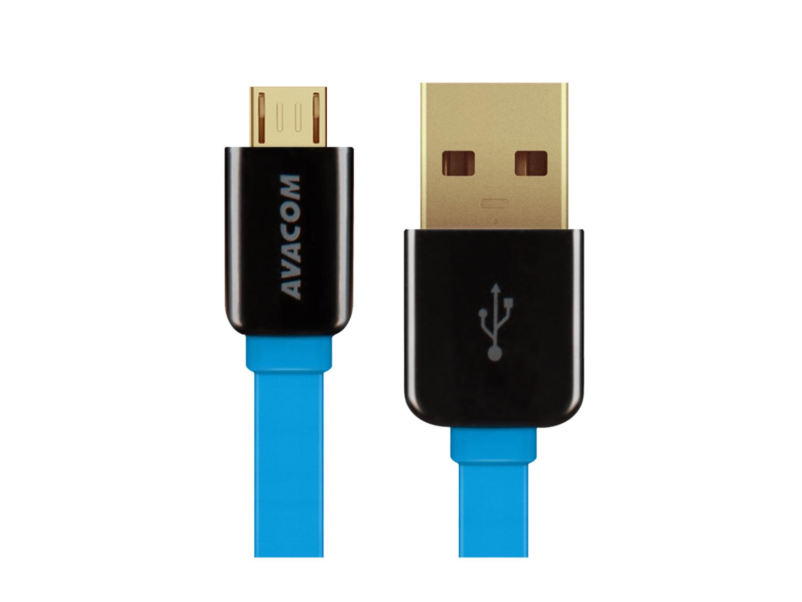 Kabel AVACOM MIC-120B USB - Micro USB, 120cm, modrá - DCUS-MIC-120B