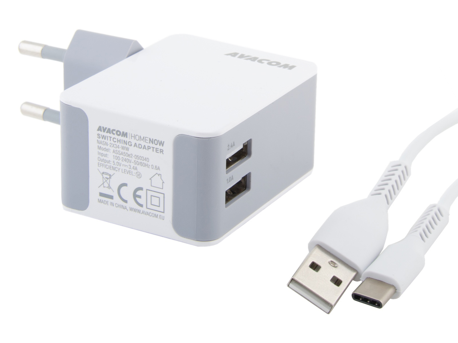 AVACOM HomeNOW síťová nabíječka 3,4A se dvěma výstupy, bílá barva (USB-C kabel) - NASN-2X34C-WW