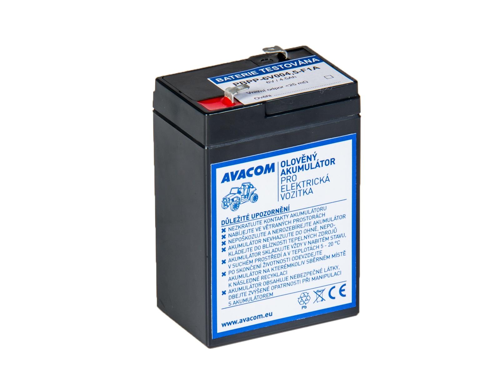 AVACOM náhradní baterie (olověný akumulátor) 6V 4,5Ah do vozítka Peg Pérego F1 - PBPP-6V004,5-F1A