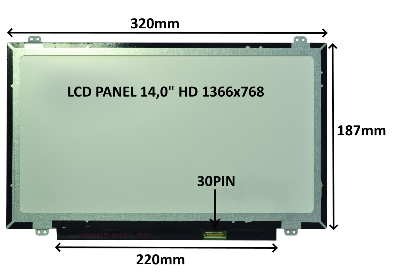 LCD PANEL 14,0'' HD 1366x768 30PIN MATNÝ / ÚCHYTY NAHOŘE A DOLE - 77046738