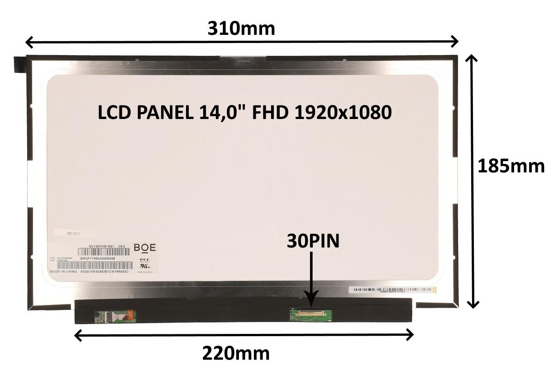 LCD PANEL 14,0'' FHD 1920x1080 30PIN MATNÝ IPS / BEZ ÚCHYTŮ - 77042065