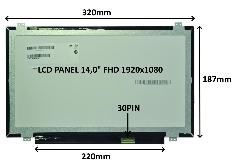LCD PANEL 14,0'' FHD 1920x1080 30PIN MATNÝ IPS / ÚCHYTY NAHOŘE A DOLE - 77047414