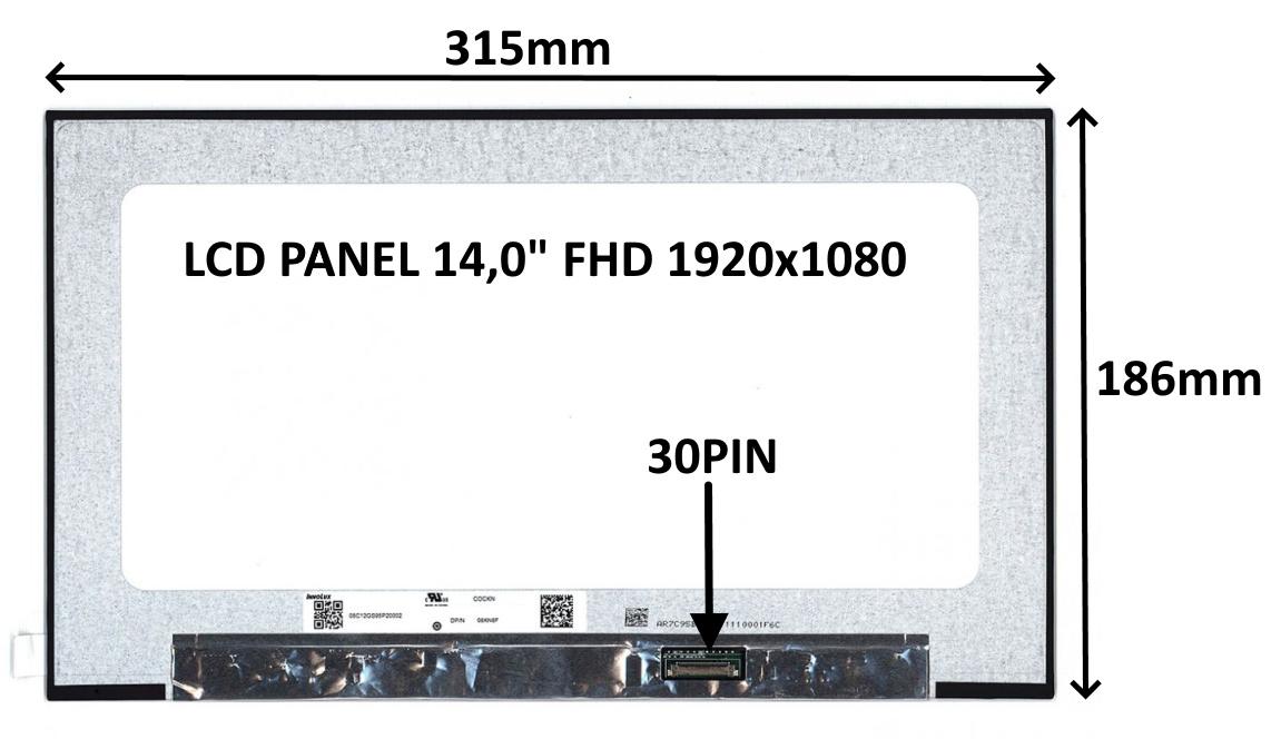 LCD PANEL 14,0'' FHD 1920x1080 30PIN MATNÝ IPS / BEZ ÚCHYTŮ - 77042909