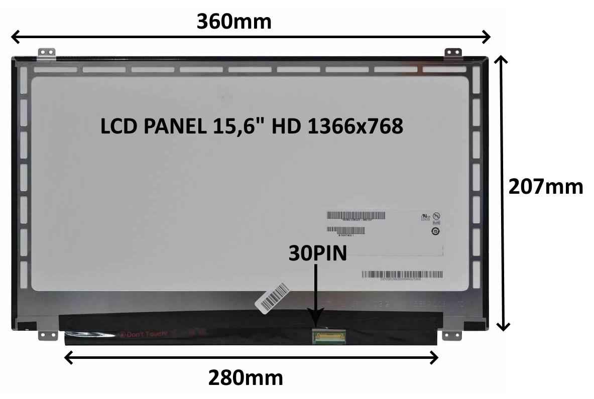 LCD PANEL 15,6'' HD 1366x768 30PIN MATNÝ / ÚCHYTY NAHOŘE A DOLE - 77046770