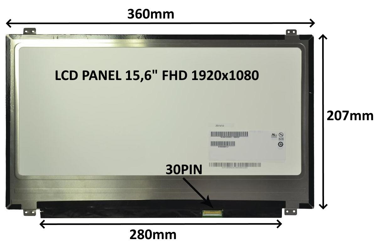 LCD PANEL 15,6'' FHD 1920x1080 30PIN MATNÝ / ÚCHYTY NAHOŘE A DOLE - 77046121