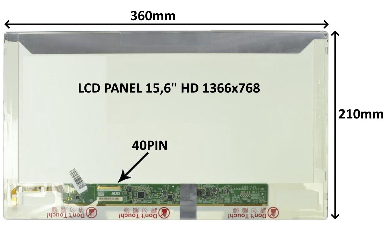 LCD PANEL 15,6'' HD 1366x768 40PIN LESKLÝ / ŠROUBOVÁNÍ Z BOKŮ - 77024194