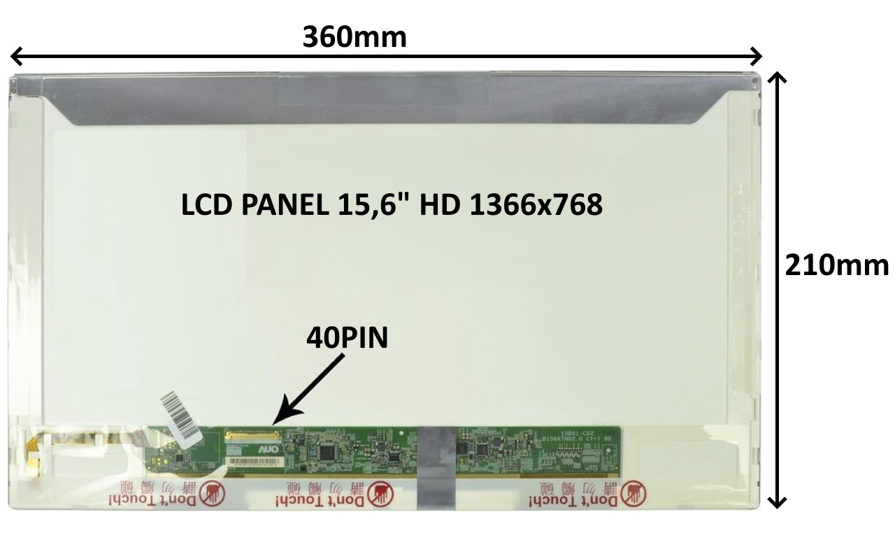 LCD PANEL 15,6'' HD 1366x768 40PIN MATNÝ / ŠROUBOVÁNÍ Z BOKŮ - 77024294