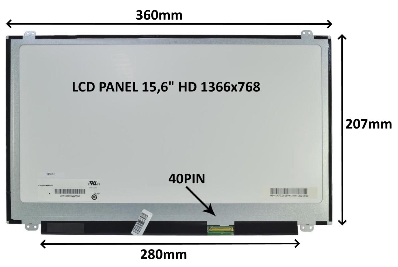 LCD PANEL 15,6'' HD 1366x768 40PIN MATNÝ / ÚCHYTY NAHOŘE A DOLE - 77044552