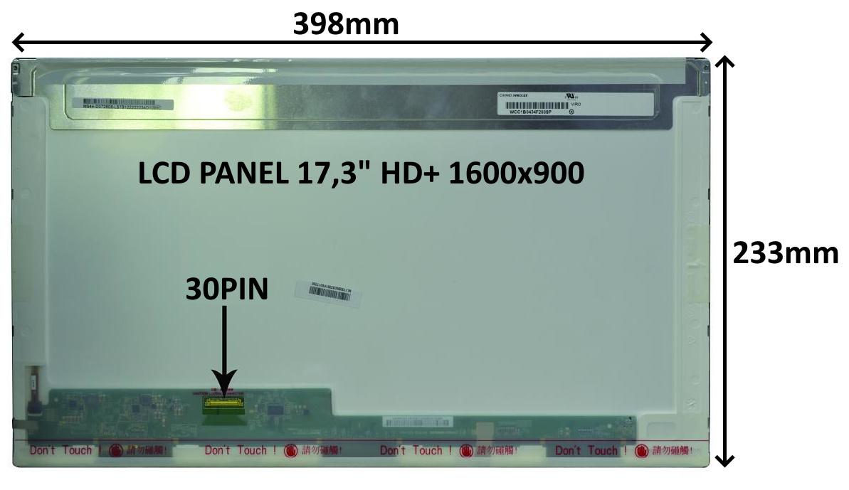LCD PANEL 17,3'' HD+ 1600x900 30PIN LESKLÝ / ŠROUBOVÁNÍ Z BOKŮ - 77047070