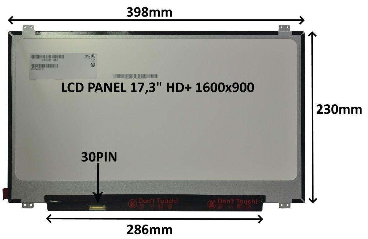 LCD PANEL 17,3'' HD+ 1600x900 30PIN MATNÝ / ÚCHYTY NAHOŘE A DOLE - 77048971