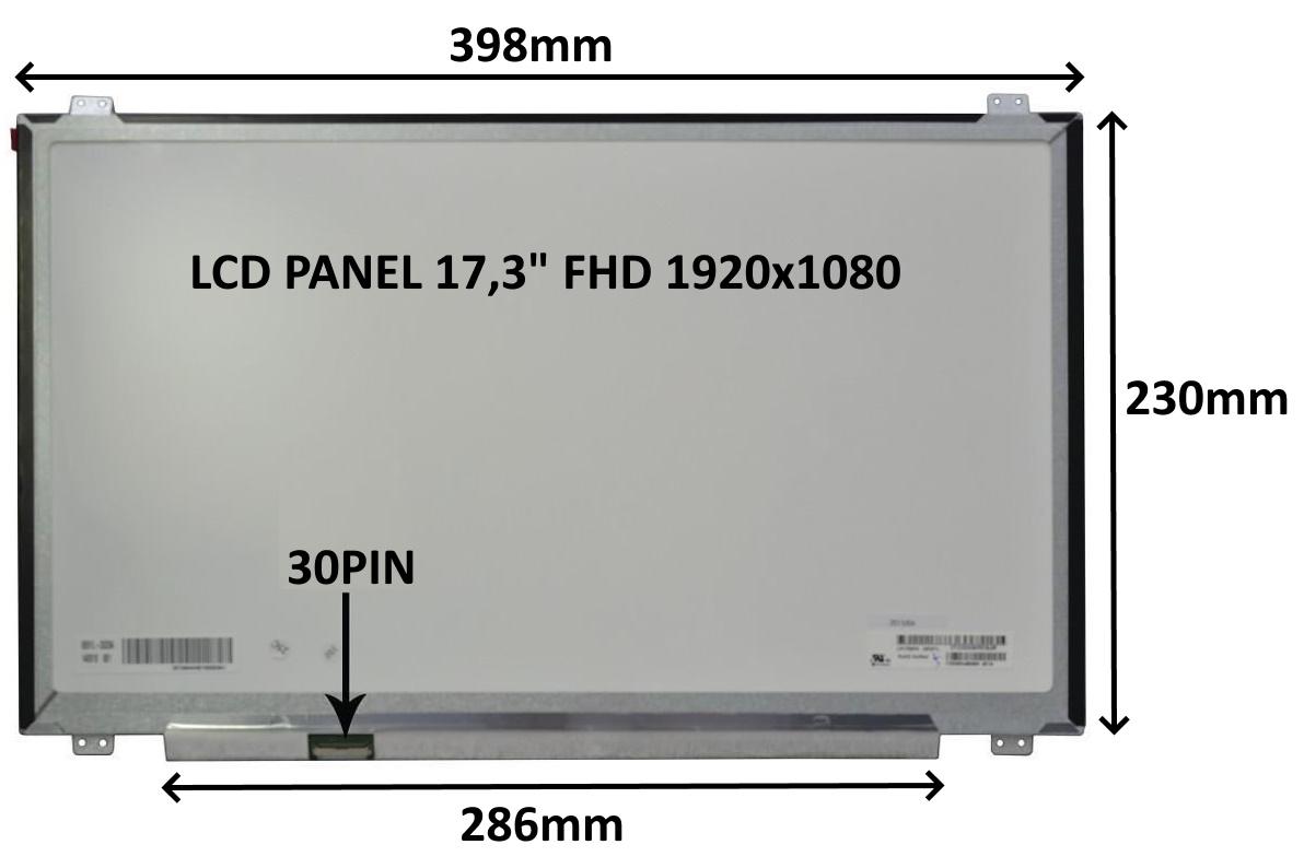 LCD PANEL 17,3'' FHD 1920x1080 30PIN MATNÝ IPS / ÚCHYTY NAHOŘE A DOLE - 77047910