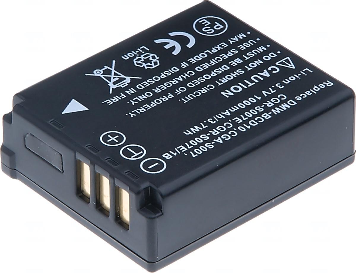 Baterie T6 power Panasonic DMW-BCD10, CGA-S007, CGR-S007E, CGR-S007E/1B, 1000mAh, černá