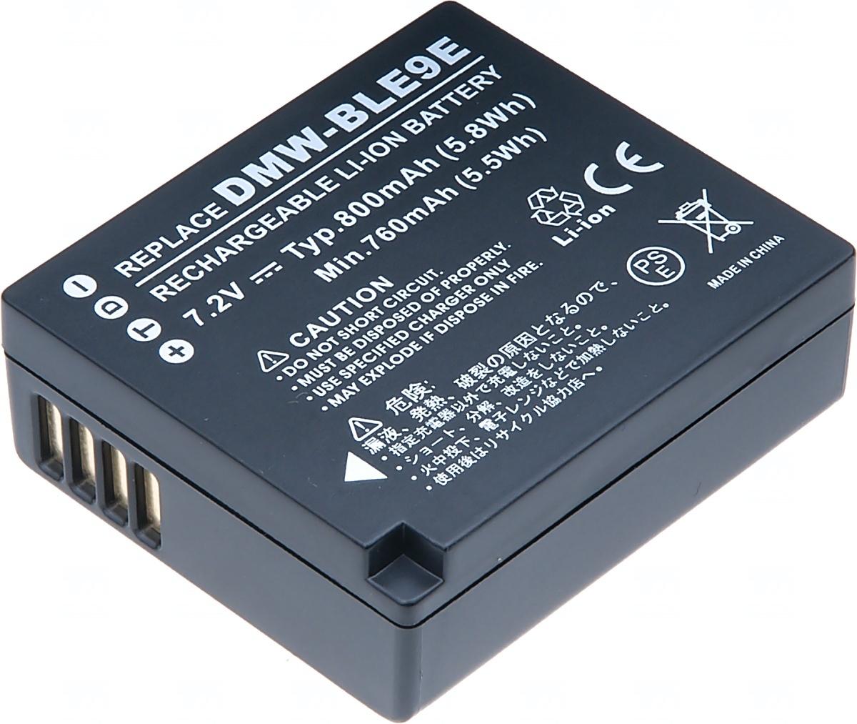 Baterie T6 power Panasonic DMW-BLE9, 800mAh, černá