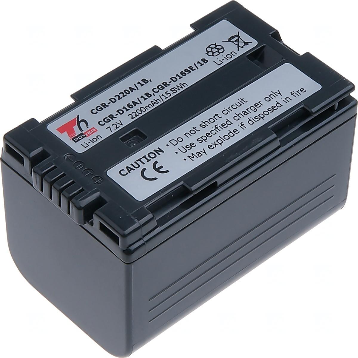 Baterie T6 power Panasonic CGR-D220A/1B, CGR-D16A/1B, 2200mAh, šedá
