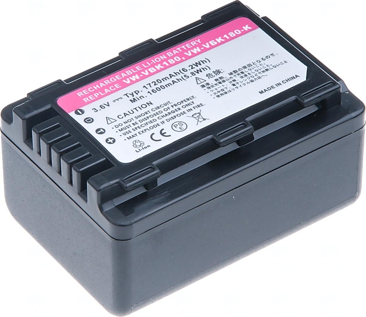Baterie T6 power Panasonic VW-VBK180, VW-VBL090, 1720mAh, 6,2Wh, černá