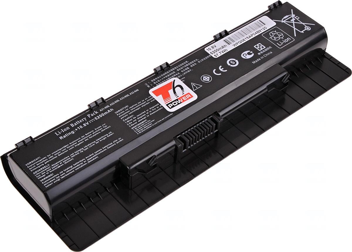 Baterie T6 power Asus N46, N56, N76, 6cell, 5200mAh