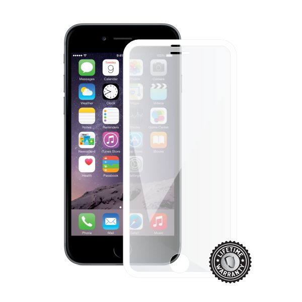 Screenshield™ APPLE iPhone 6/6S Tempered Glass protection display (full COVER white metalic frame)