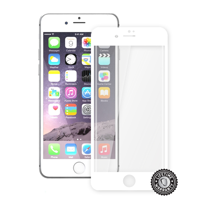 Screenshield™ Apple iPhone 7 Plus Tempered Glass protection display (full COVER WHITE metalic frame)