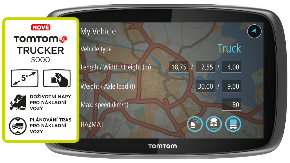 TomTom TRUCKER 5000, LIFETIME mapy