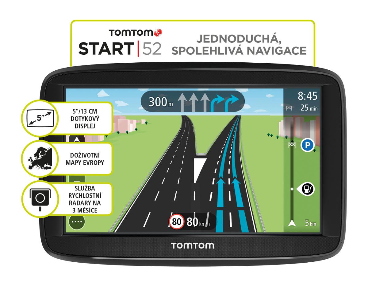 TomTom START 52 Europe, LIFETIME mapy