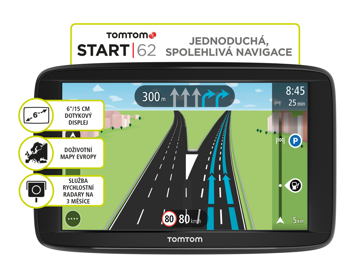 TomTom START 62 Europe, LIFETIME mapy