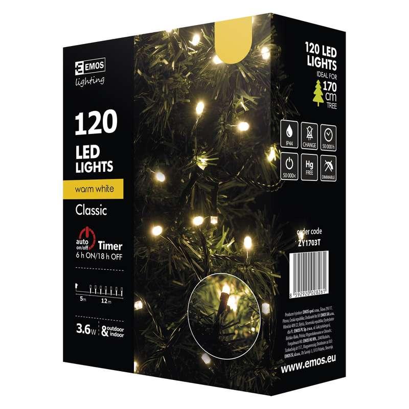 Vánoční řetěz 120 LED, 12m, teplá bílá + časovač