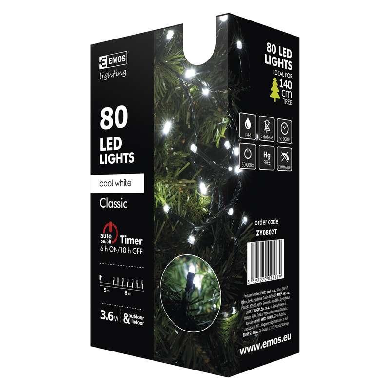 Vánoční řetěz 80 LED, 8m, studená bílá + časovač