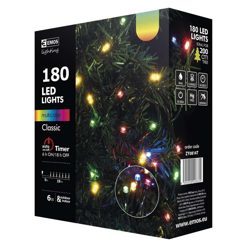 Vánoční řetěz 180 LED, 18m, MULTICOLOR + časovač