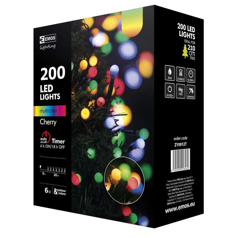 Vánoční řetěz 200LED-kuličky,20m,MULTICOLOR+časova
