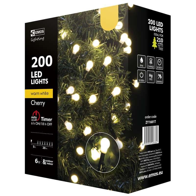 Vánoční řetěz 200 LED-kuličky,20m,tep.bílá+časovač