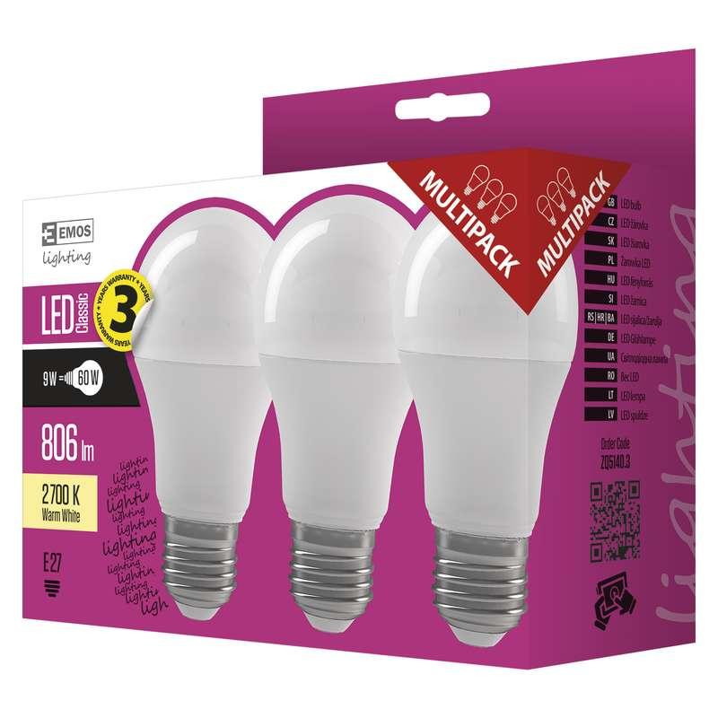 EMOS LED ŽÁROVKA CLASSIC A60 9W E27 teplá bílá 3ks - 1525733202