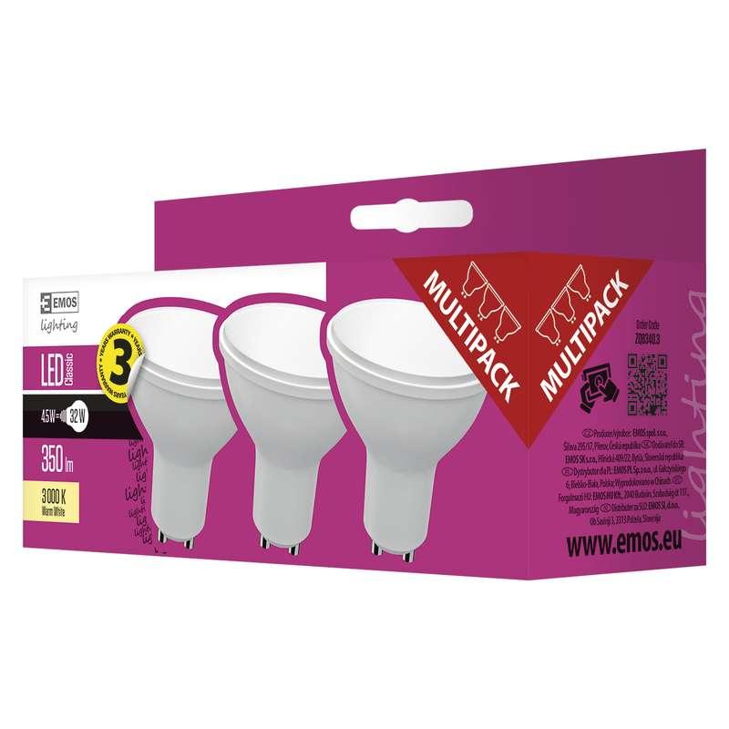 EMOS LED ŽÁROVKA CLASSIC MR16 4,5W GU10 teplá bílá 3ks - 1525730201