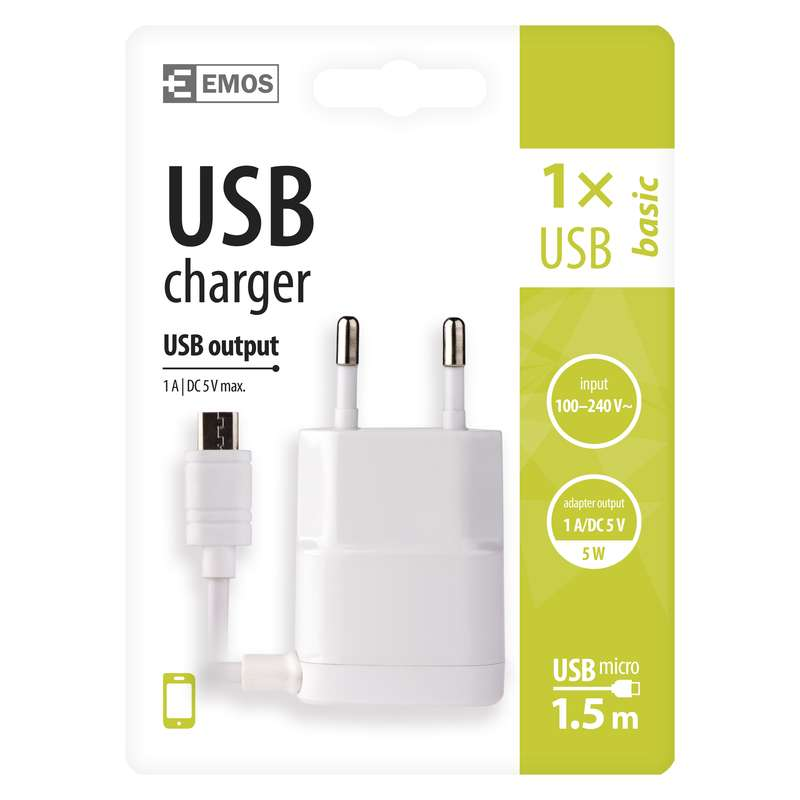 USB napájecí adaptér s kabelem (micro USB) - 1704011600
