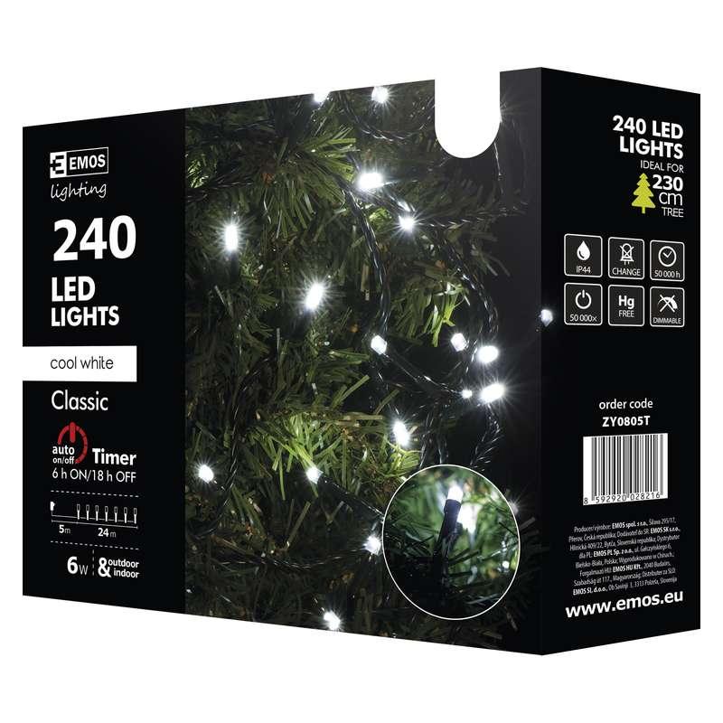 Vánoční řetěz 240 LED - 24m, stud.bílá+časovač