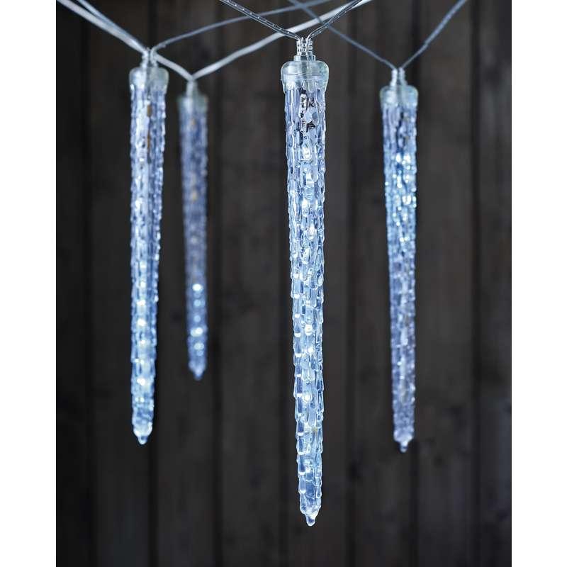LED girlanda – 10× rampouch, studená bílá, časovač