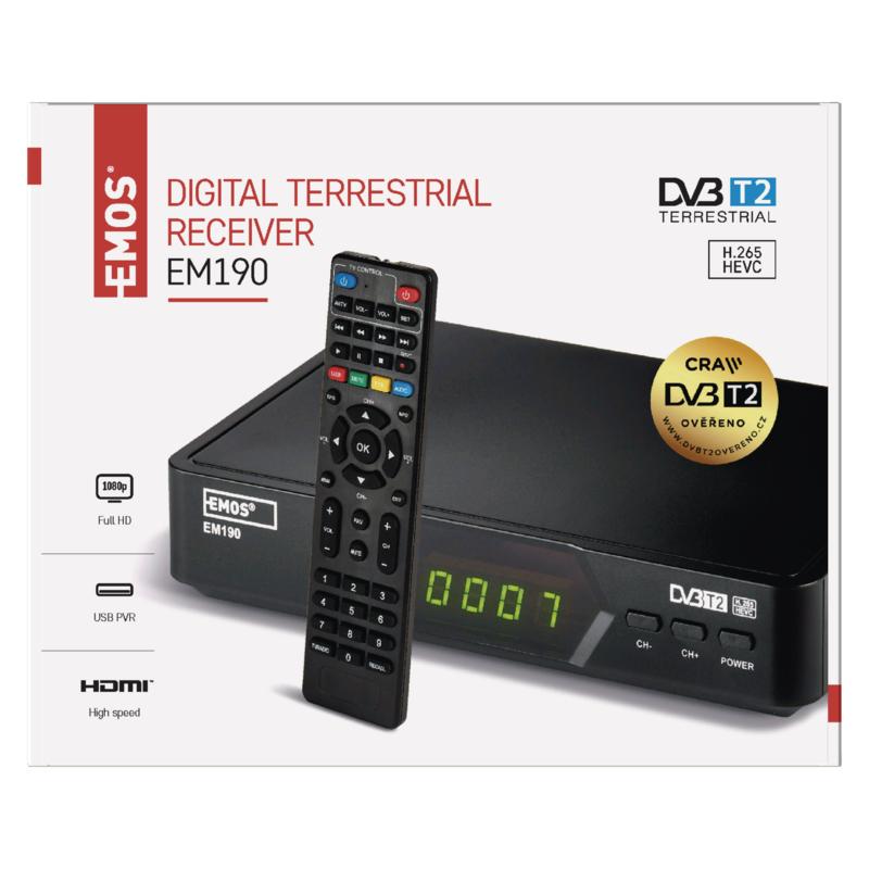 DVB-T2 PŘIJÍMAČ EM190 HD (HEVC H265)