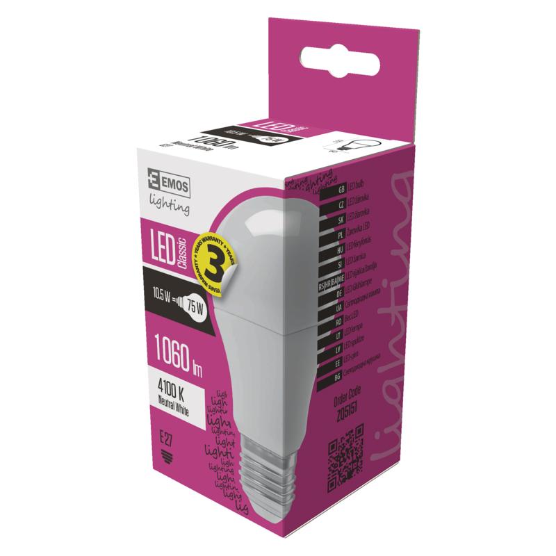 EMOS LED ŽÁROVKA CLASSIC A60 10,5W(75W) 1060lm E27 NW - 1525733402