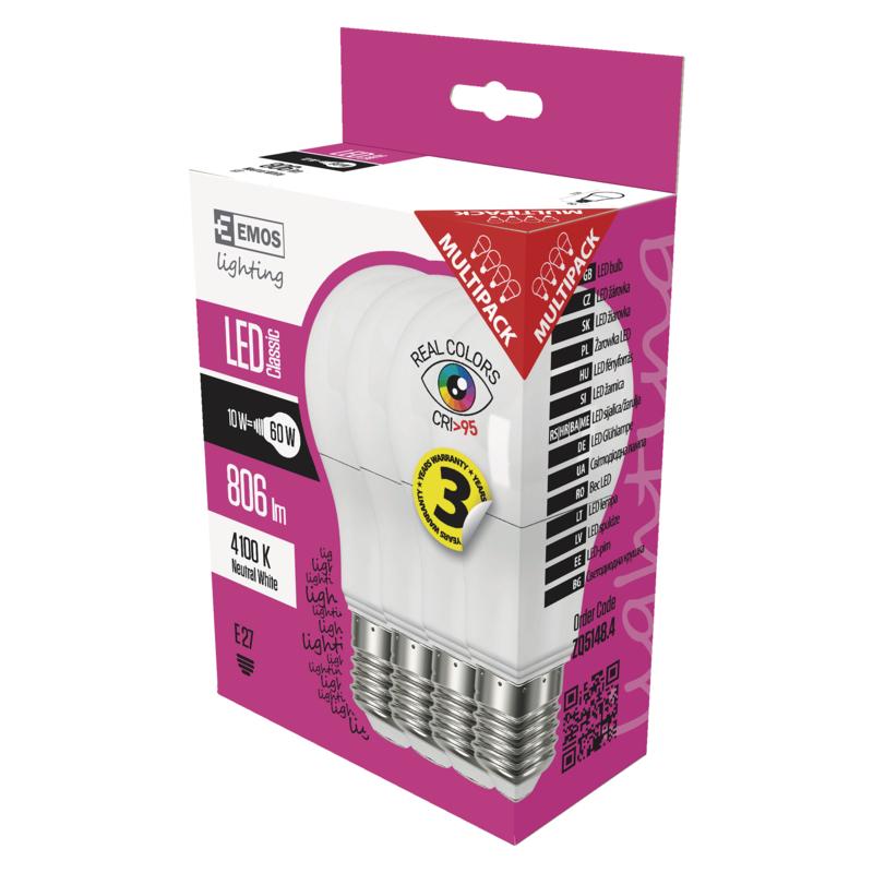 EMOS LED ŽÁROVKA CLASSIC A60 10W(60W) 806lm E27 NWRa95 4PC - 1525733421