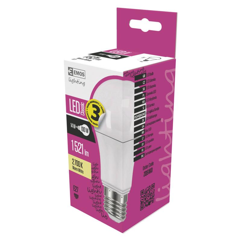 EMOS LED ŽÁROVKA CLASSIC A60 14W(100W) 1521lm E27 WW - 1525733204
