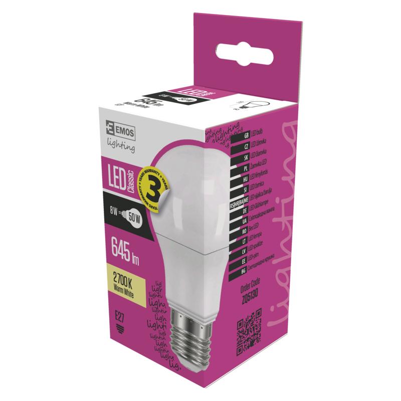 EMOS LED ŽÁROVKA CLASSIC A60 8W(50W) 645lm E27 WW - 1525733200